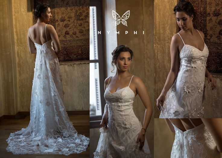 Alvina bridal gown  Bachdi resort 2017, by www.Nymphidesign.com 3-dimensional lace gown with sweetheart neckline , open back and thin straps.