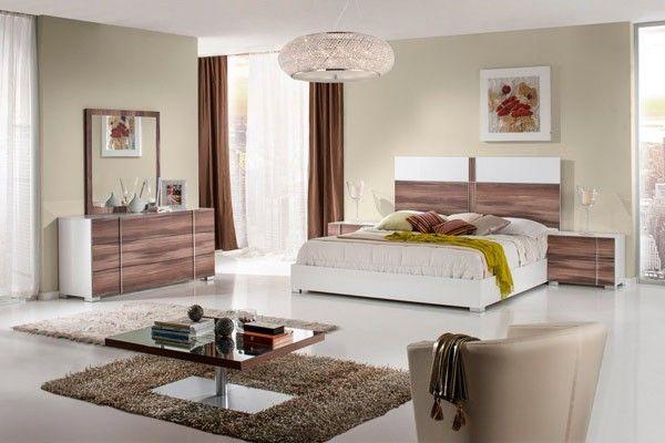 VIG Furniture - Modrest Giovanna Italian Modern White & Cherry Queen Bedroom Set - VGACGIOVANNA-Q-SET