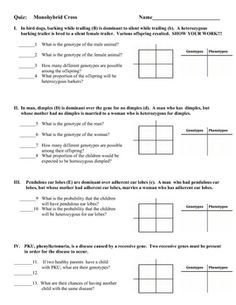 worksheets on monohybrid cross - Google Search | Genetics ...