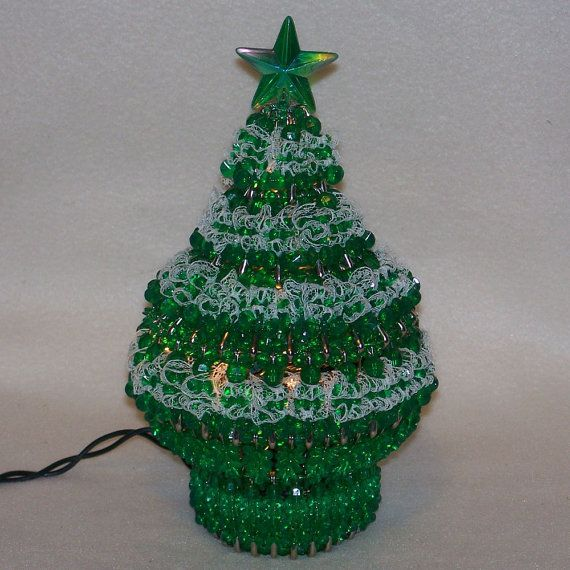 Decorate Christmas Tree With Beads: Lighted Bead And Safety Pin Christmas Tree By TheBeadLadi