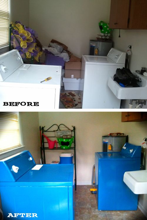 Emily's Appliance Makeover using the Killer b. tutorial. One $10 can of Rustoleum enamel paint is all you need!