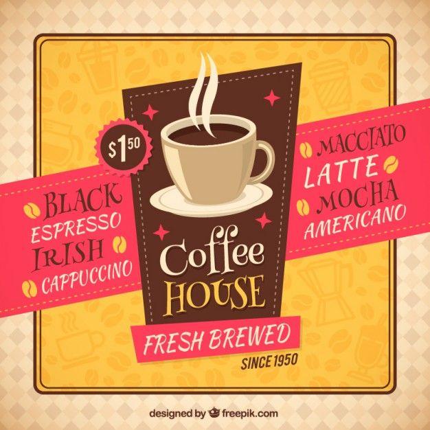 Casa de café retro panfleto                                                                                                                                                                                 Mais
