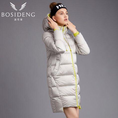 BOSIDENG women's coat duck down coat winter long jacket hooded outwear draw-string hat workout coat girl B1601192