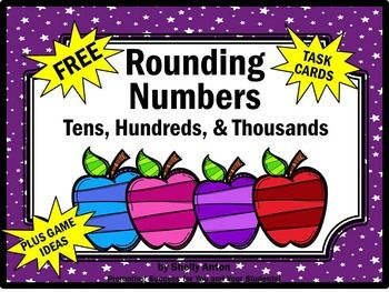 Rounding:  Rounding to the Nearest Number - Here are 6 math task cards for students to practice rounding to the nearest ten, hundred and thousand.