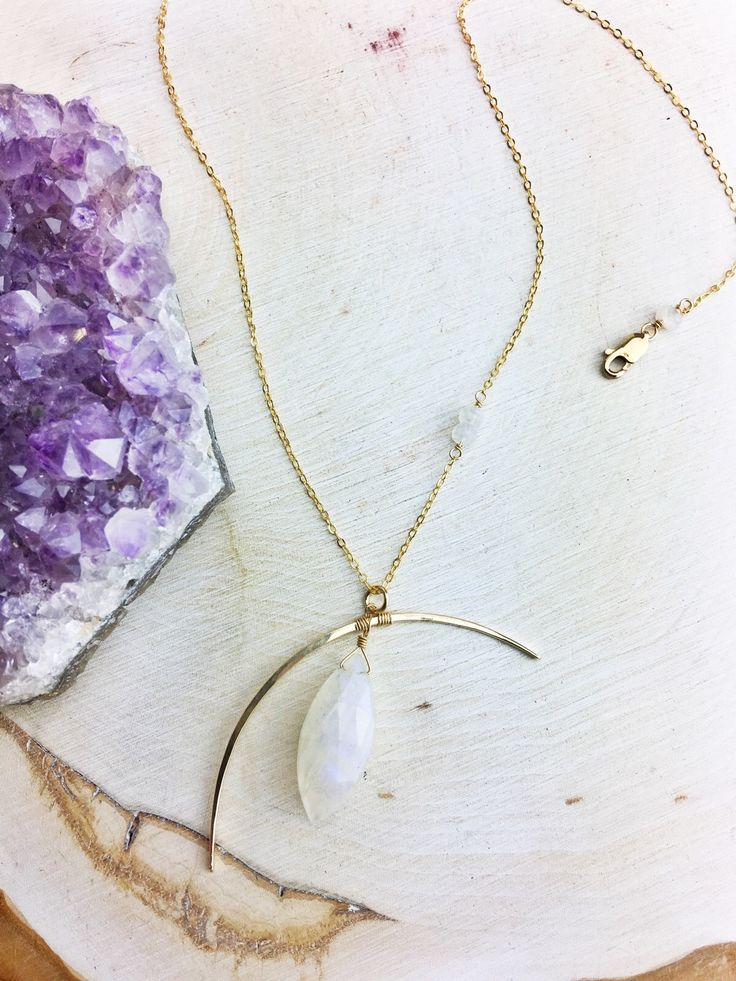 Loonah Necklace - Moonstone Marquis 14k Gold Fill Framework Chain and Findings
