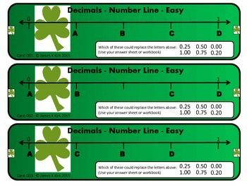 St Patrick's Day style decimals challenge cards to print and laminate. Great resource.