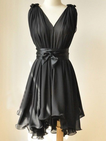 Black Round Neck Sleeveless Ruffles Asymmetrical Chiffon Dress