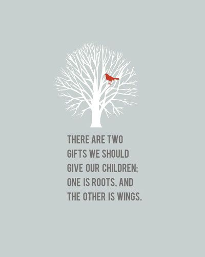 Roots & Wings Quote 8x10 art print - FREE shipping, home decor via Etsy