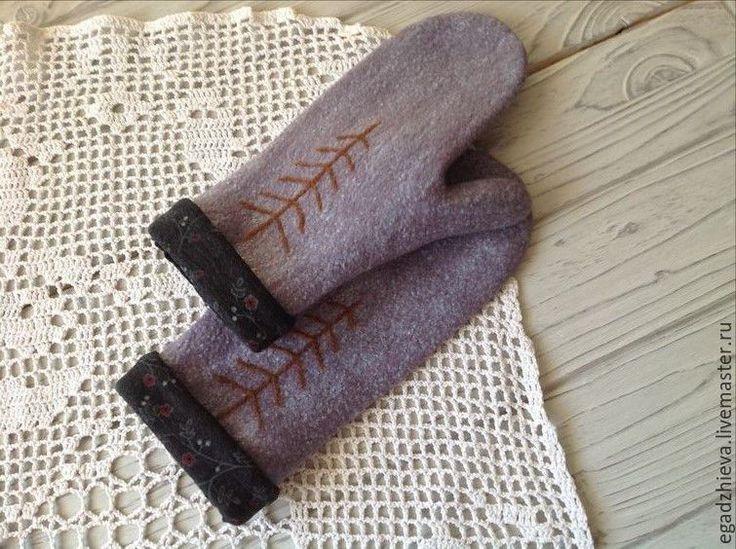 Купить Варежки валяные наивная елка смешанная техника - рисунок, варежки, варежки ручной работы