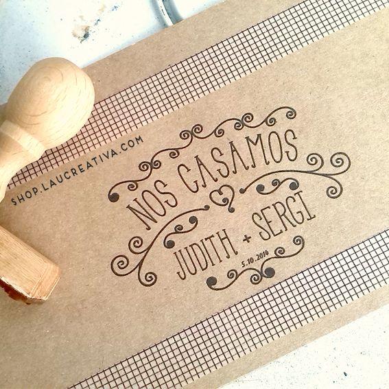 Sello personalizado para bodas. | La Chachitienda http://shop.laucreativa.com/sellos-personalizados