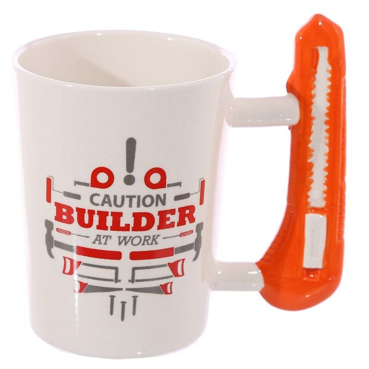Shaped Handle Ceramic Tool Mug - Safety Knife - Novelty Shaped Handle Ceramic Tool Mug - Safety KnifeShaped handle mugs, they are novelty, colourful, cover a great range of themes and designs, and all are food safe and suitable for use in the microwave, t
