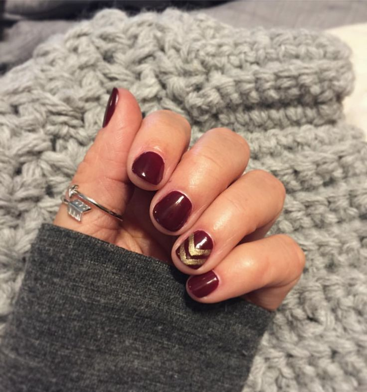 "Fall #shellac #mani by our Manicurist Cassandra! ❤️ {@cndworld ""Oxblood"" & ""Locket Love""}"
