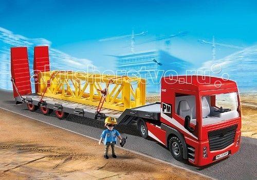 Конструктор Playmobil Стройка: Большой грузовик  Стройка: Большой грузовик - красивый новый транспортер, который может перевозить большие грузовики и длинные конструкции для строительных работ.  На него можно погрузить с помощью крана (арт. 5466 pm) или гигантского самосвала (арт. 5468 pm).   Этот автомобиль довольно большой, его размеры составляют 66*13*15 см.  В кабине водителя есть два сидячих и одно лежачее место.  Игровые наборы Playmobil комбинируются с другими игрушками от этого же…
