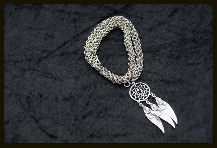 Round Mail chain and dream catcher charm. http://www.mariannedepierres.com/store-2/store/