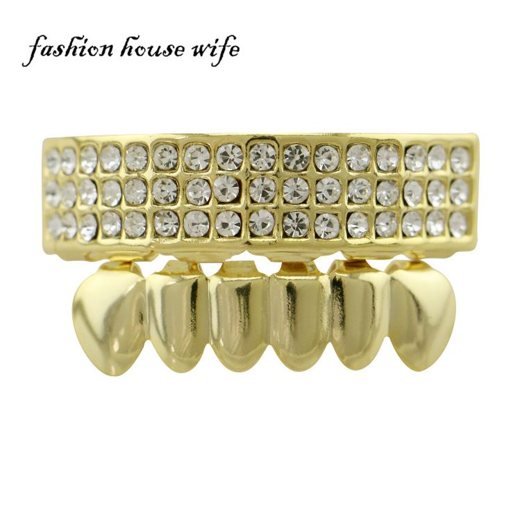 Hiphop 3 Row Full Rhinestone Teeth Grillz For Mouth Top & Bottom Tooth Grillz Dental Vampire Teeth Caps Party Jewelry NL0053 #Affiliate