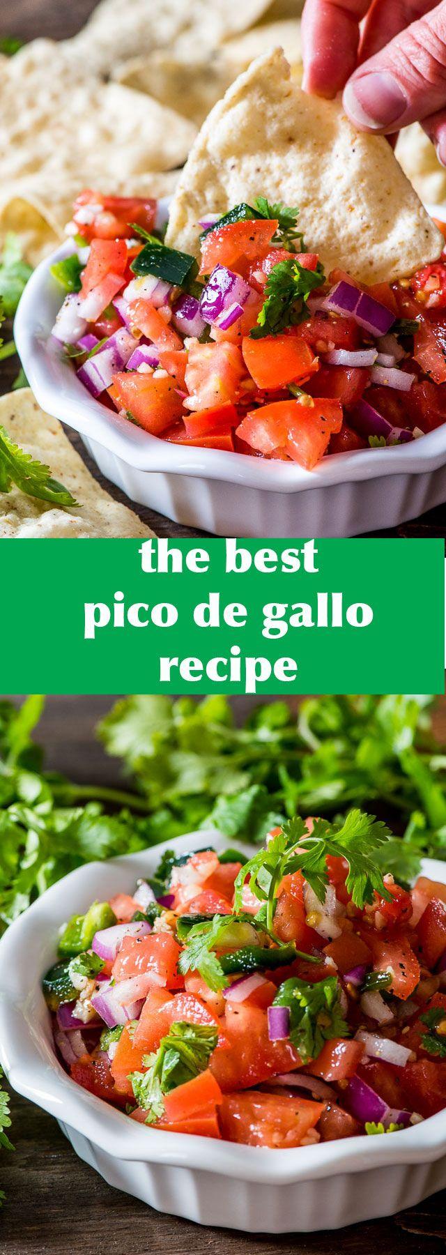 The best pico de gallo recipe around. Fresh tomato, onion, peppers, cilantro and garlic with a splash of lime.