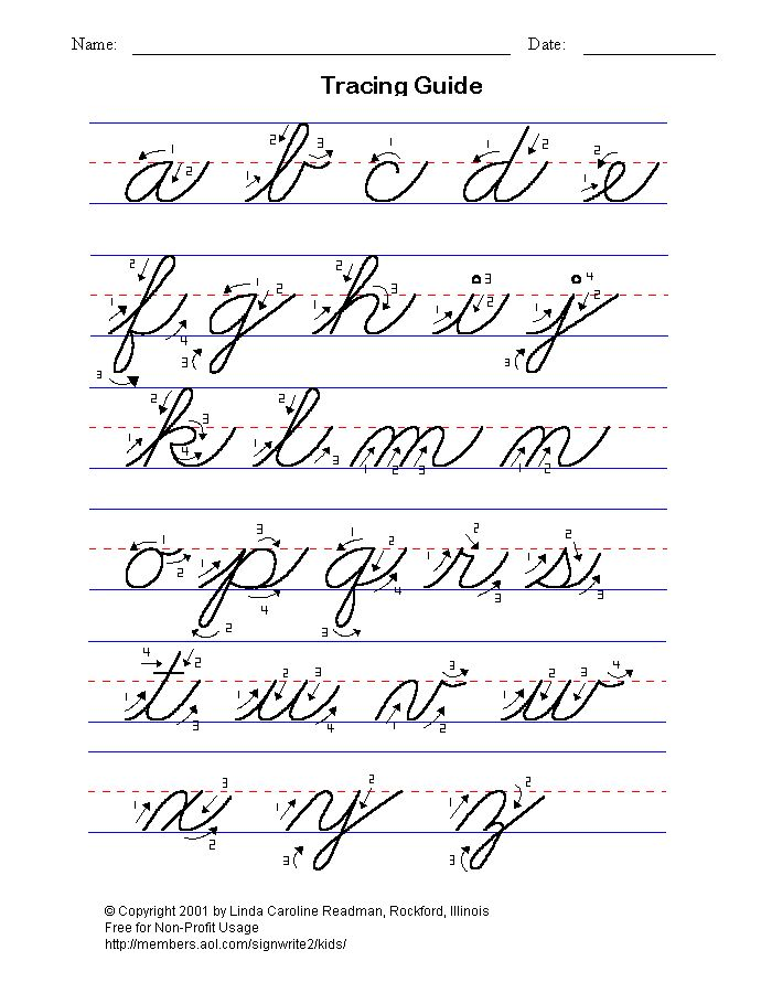 Basic cursive writing - lower case.  My handwriting needs improvement!