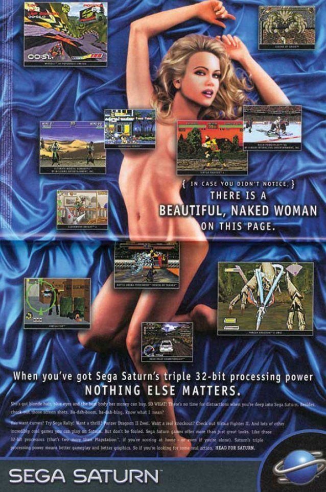 """Sega - """"In case you didn't notice, there is a beautiful, naked women on this page""""."""