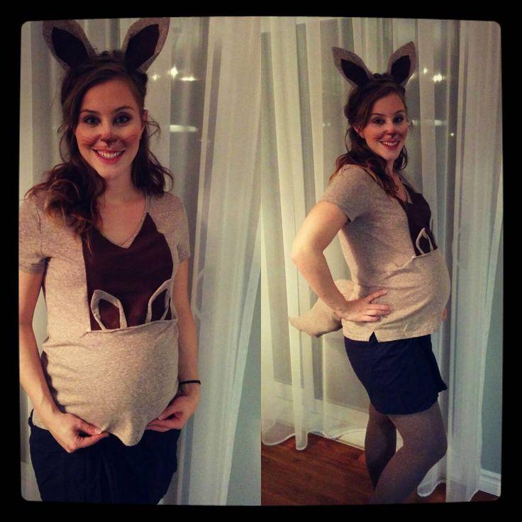 «Kangourou déguisement de future maman #pregnantcostumekangaroo diy costume
