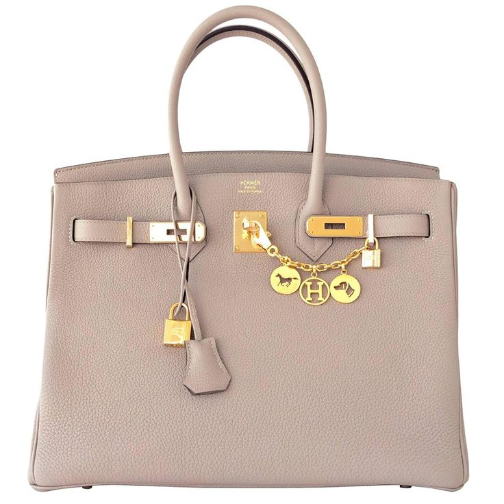 Hermes Gris Tourterelle  Dove Grey Togo Birkin 35cm with Gold Hardware. Gris Tourtelle has been seen on so many celebs including Kim Kardashian, Alex Curran, Heidi Montag, and Alex Gerrad $22,700.