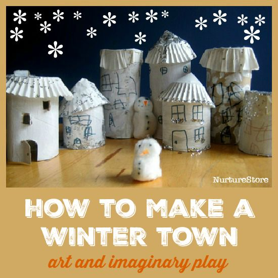 Homemade play town craft :: winter craft for kids :: snow theme ideas :: great for winter imaginary play.