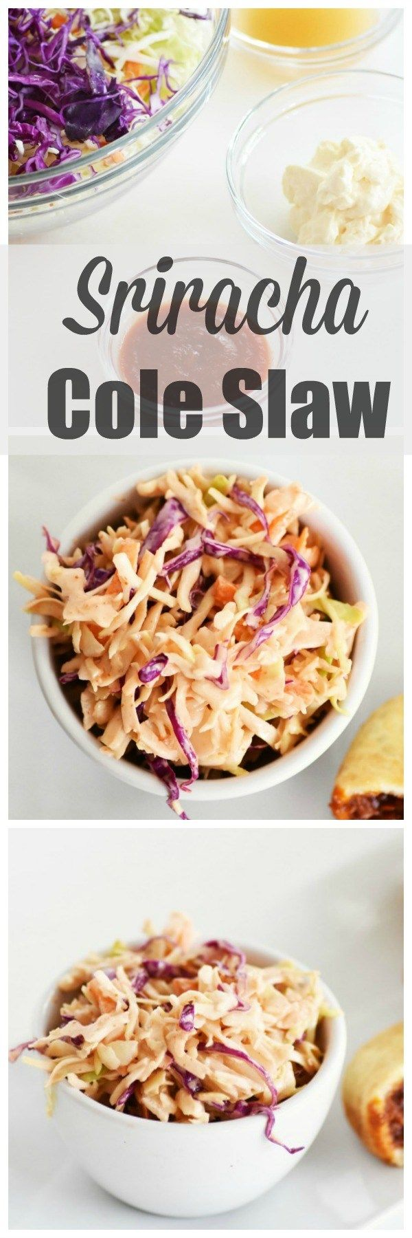 Spicy coleslaw! Kick your next side dish up with this sriracha coleslaw recipe.