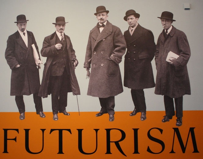 Filippo Tommaso Marinetti (center), the founder of the Futurist movement, with the artists (left to right, Luigi Russolo, Carlo Carra, Umberto Boccioni & Gino Severini. Futurismo.