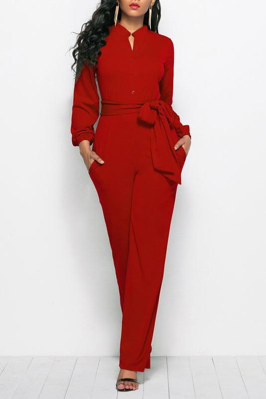 934ddaa7b789 2019 的 Stand Collar Long Sleeve Elegant Solid Jumpsuit 主题 ...
