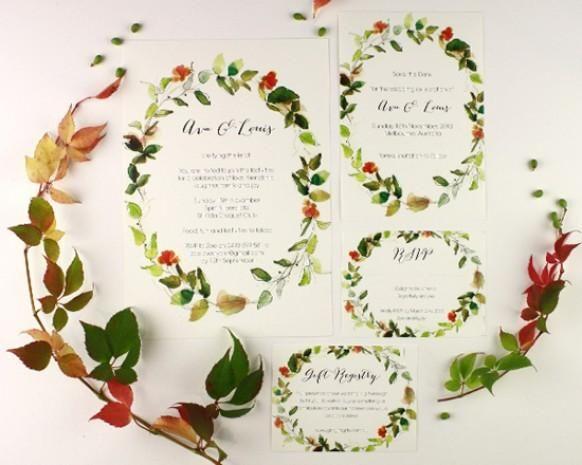 watercolour wedding invitations from Melbourne studio Santiago Sunbird