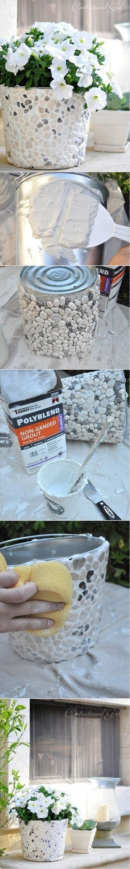DIY Rock Covered Bucket An Easy Project You'll Love   The WHOot