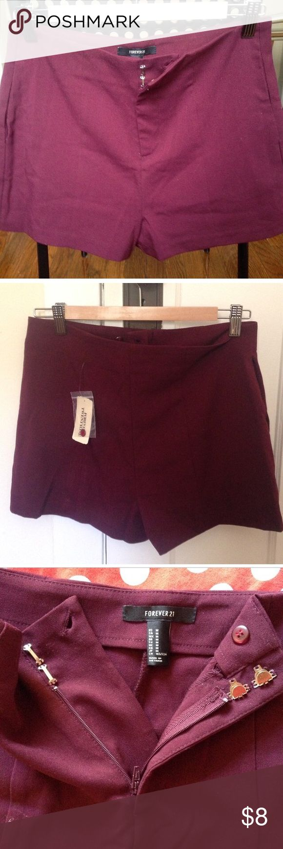 Forever 21 Burgundy shorts. Burgundy shorts from Forever 21. New with tags Forever 21 Shorts