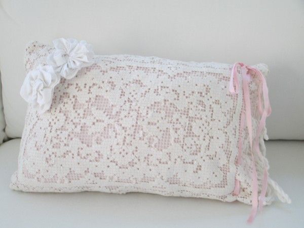 shabby lace pillows 10-13-12 058 Shabby Chic Cottage Lace Pillow SOLD pillows Pinterest ...
