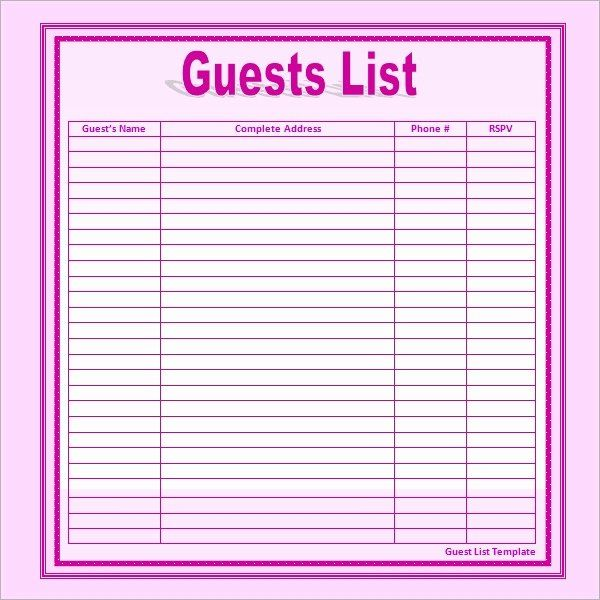 Wedding Invitation List Templates Awesome 17 Wedding Guest List Templates Pdf Word Excel In 2020 Guest List Template Wedding Guest List Template Wedding Guest List