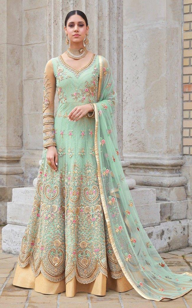 3c9b009630 Light Mint Green Net Salwar Kameez in 2019 | Salwar Kamee | Salwar ...