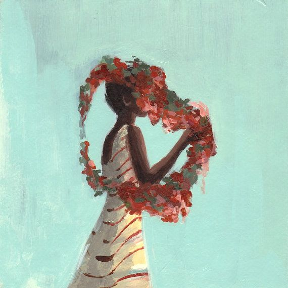 Rose Queen . 8 x 8 giclee digital art print of by ClareElsaesser, $25.00Acrylic Paintings, Rose Queens, Taste Orangey, Clare Elsaesser, Acrylics Painting, Artworks Acrylics, Art Prints, Watercolors Paper, Clareelsaesser