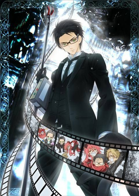 Black Butler ~~ Check out the frame with baby versions of Will & Grell! KAWAII!!