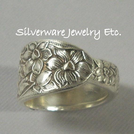 Elegant NARCISSUS Antique Silver Spoon Ring by SilverwareJewelryEtc