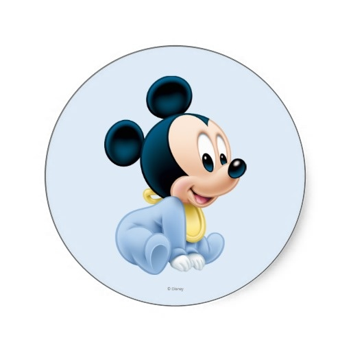 Baby Mickey Mouse 2 Round Stickers $4.95