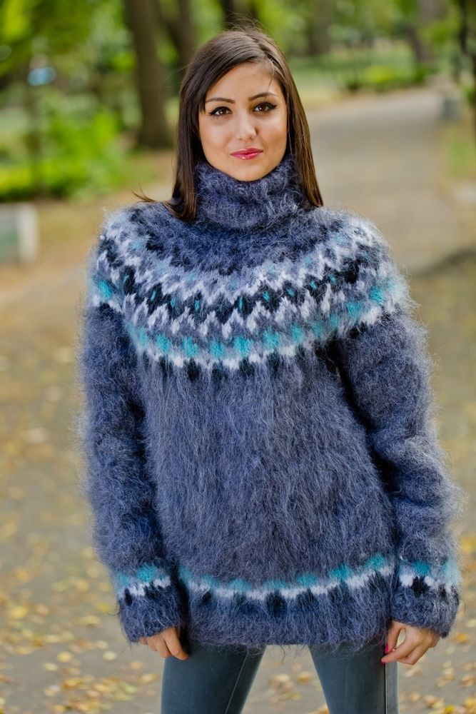 Tiffy Mohair Hand Knitted T- neck Icelandic Sweater Fuzzy ...