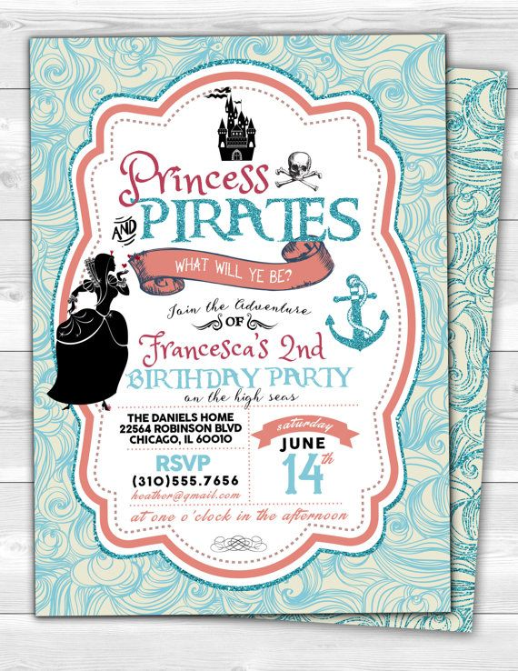 13 best Fairy Pirate Party images – Princess and Pirates Party Invitations