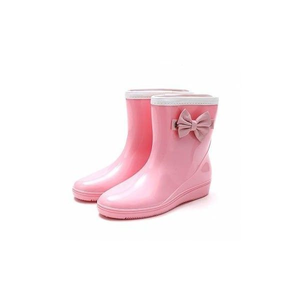 Candy Color Korean Japanese Style Butterflyknot Waterproof Slip On... ($20) ❤ liked on Polyvore featuring shoes, boots, pink, pink rain boots, pink boots, waterproof wellington boots, pink rubber boots and flat shoes