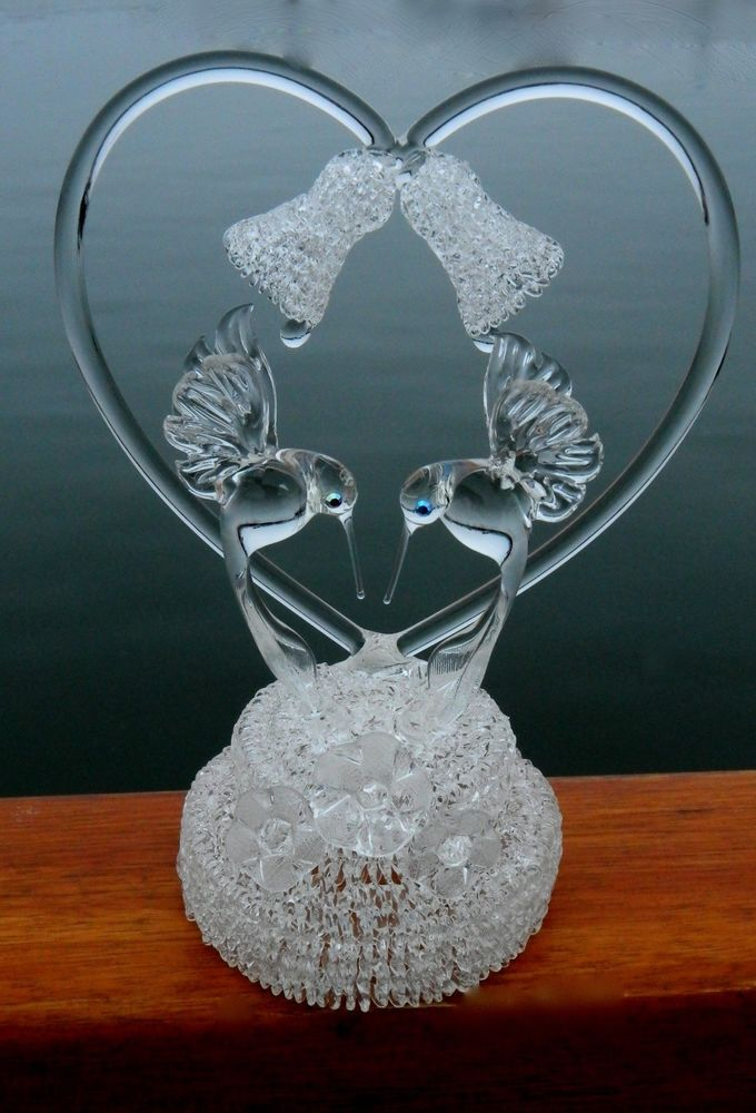 Hummingbird Blown Glass Crystal, Wedding Bells and Flowers ...