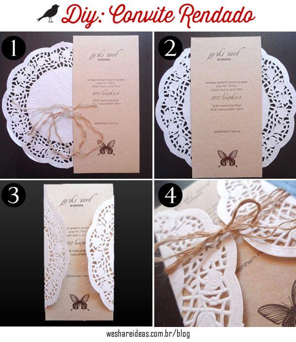 convite de renda, como fazer convite casamento, wedding invitation, diy, inspire, lance