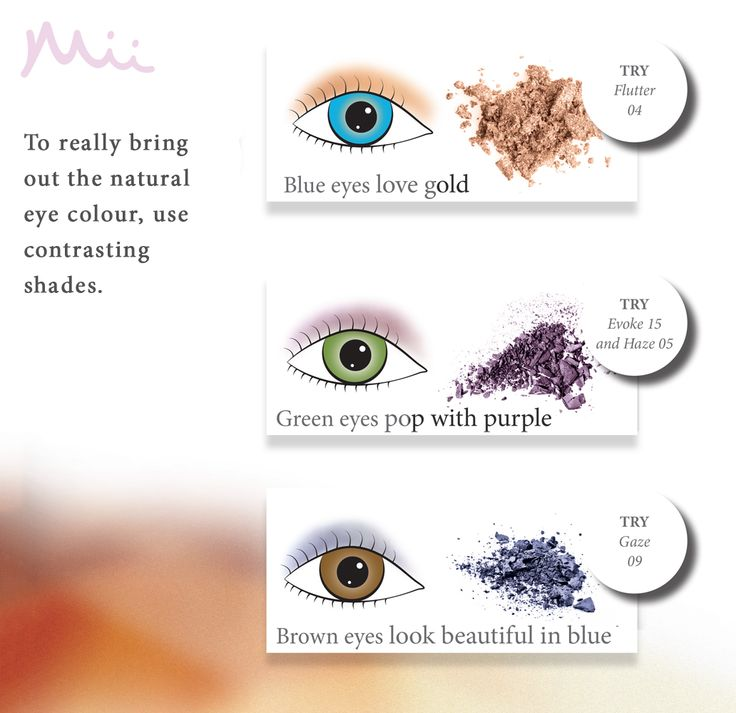 To really bring out the natural eye colour, use contrasting shades. There is a colour for everyone with Mii.