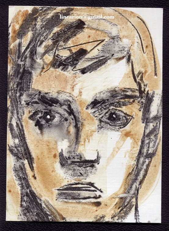 face with clay and charcoal. facebook.com/line.arion