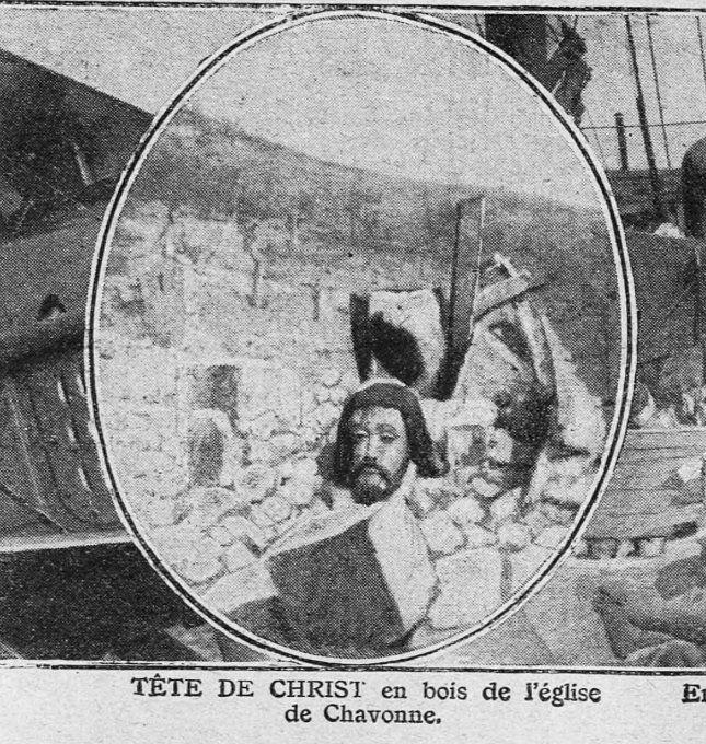 "WWI covered live on Twitter: ""Head of Christ in wood of the church of Chavonne Aug 12 1917 Tete de Christ en bois de l'eglise de Chavonne https://t.co/6FoAlGj6HD https://t.co/trFP8qEKZC"""