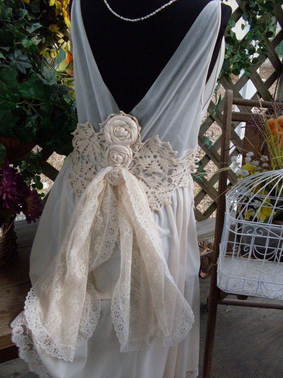 Vintage Wedding Dress Shabby Chic Gypsy Boho By Summersbreeze
