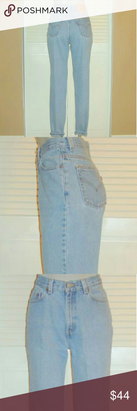 "Vintage Levis 512 High Waisted Tapered Mom Jeans This pair of Vintage Levi's 512 blue jeans are 32"" around the waist, 40"" around the hips, have an 11 1/2"" rise and a 31"" inseam. They are marked 31x30 but measure 32x31. Levi's Jeans Straight Leg"