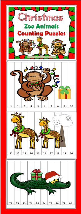 Christmas Zoo Animals Counting Puzzles