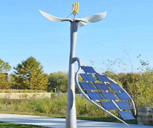 Anthony Castronovo, solar power, eco art, solar sculpture, trillium flower, Iowa River Landing Wetlands Park.